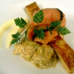 Smoked salmon with creamed leeks, puff pastry and Hollandaise sauce.