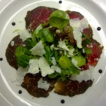 Home cured fillet of beef with a Parmesan and caper salad.