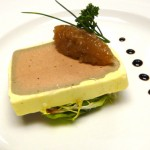 Smooth duck liver and foie gras parfait with a shallot and ginger compote.