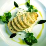 Ballotine of quail, celeriac remoulade, crispy sage and chive oil.