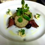 Rillette of rabbit with Jesus du Pays Basque Salami, pickled garlic, olives and lamb's lettuce.