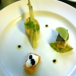 Salmon rillette with pickled baby fennel, smoked salmon with creme fraiche and seared salmon with minted pea puree.