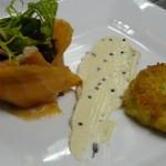 Smoked haddock fishcake, smoked salmon and bagration sauce.