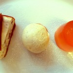 Rhubarb cheesecake, vanilla ice cream and rhubarb jelly.
