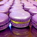 Violet macaroons with a white chocolate ganache filling